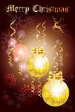 Feestelijk de kaartontwerp van de Kerstmisgroet met mooi vakantieballen en lint - vectoreps10 Royalty-vrije Stock Fotografie