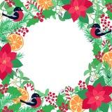 Feestelijk helder leuk de winter vectorkader van diverse Kerstmis hand-drawn elementen royalty-vrije stock afbeeldingen