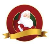 Feestelijk Kerstmis rond etiket met gouden lint Stock Foto