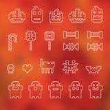 Feestelijk naadloos het pixelpatroon van Halloween in vector stock fotografie