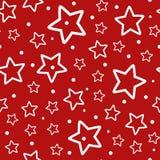 Feestelijk Naadloos Patroon Herhaalde overzichten van witte sterren en stippen op rode achtergrond royalty-vrije illustratie