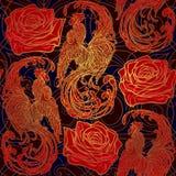 Feestelijk Nieuw jaar simless patroon met rode ruster als symbool van en roze Ingewikkelde lineaire tekening de kraaiende Haan op Stock Foto
