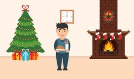 Feestelijk ontwerp van de ruimte Baksteenopen haard, Kerstmiskroon, melk en koekjes Royalty-vrije Stock Afbeeldingen