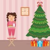 Feestelijk ontwerp van de ruimte Meisje, melk en koekjes voor leuke Kerstman Stock Foto's