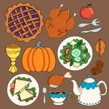 Feestelijk voedsel op de lijst royalty-vrije illustratie