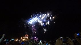 Feestelijk vuurwerk in de grote stad stock footage