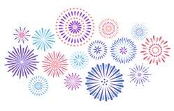 Feestelijk vuurwerk Vuurwerk van de vieringspartij, festivalvoetzoeker en kleurrijke het geïsoleerde de explosiesterren van de he vector illustratie