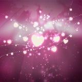 Feestelijke achtergrond van de Valentijnskaartendag Slingers van gloeiende harten op een roze achtergrond Uit de vrije hand teken stock illustratie