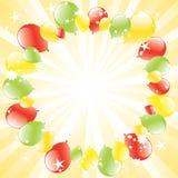 Feestelijke ballons en licht-uitbarsting Stock Afbeelding
