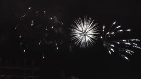 Feestelijke begroeting Vuurwerk De achtergrond van de vakantie stock footage