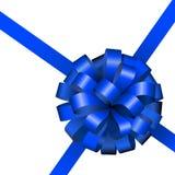 Feestelijke blauwe lint en boog Stock Afbeeldingen