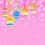 De achtergrond van Pasen bokeh met eieren Royalty-vrije Stock Foto