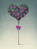 Feestelijke boom in de vorm van hart. royalty-vrije illustratie