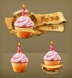 Feestelijke cupcakes met kaars Royalty-vrije Stock Foto's