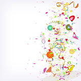 Feestelijke explosie, fruitcocktails en confettien vector illustratie