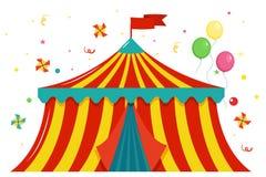 Feestelijke gekleurde circustent met een vlag en ballons stock illustratie