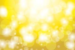 Feestelijke gouden achtergrond met cirkel bokeh lichten Stock Afbeelding