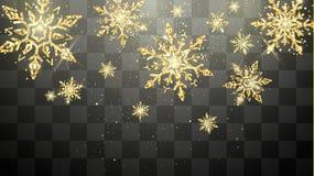 Feestelijke gouden die sneeuwvlokken op transparante achtergrond worden geïsoleerd Van nieuwjaarvooravond en Kerstmis magische de stock foto's