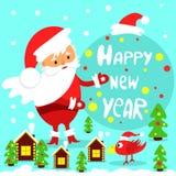Feestelijke groetkaart Gelukkig Nieuwjaar stock illustratie