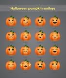 Feestelijke Halloween-pompoen emoticons Royalty-vrije Stock Afbeeldingen