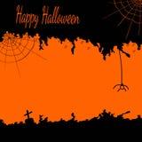Feestelijke Halloween-prentbriefkaar met spinnewebben en een spin in zwarte en oranje kleuren Stock Afbeeldingen