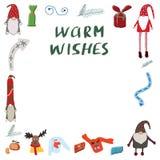 Feestelijke illustratie Ontwerpsjabloonkaart met toegevoegde warme wensennota stock illustratie