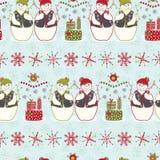 Feestelijke Kerstmis van de Sneeuwmanstrepen van de Vrienden Blauwe Winter stock illustratie