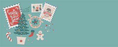Feestelijke Kerstmisgrens, kader, kaart royalty-vrije stock afbeeldingen