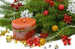 Feestelijke Kerstmissamenstelling in een rustieke stijl Stock Foto