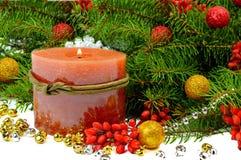 Feestelijke Kerstmissamenstelling in een rustieke stijl Stock Foto's