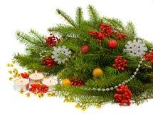 Feestelijke Kerstmissamenstelling in een rustieke stijl Royalty-vrije Stock Foto's