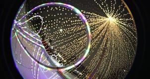 Feestelijke Kerstmisverlichting bij nacht in het park optische effect Cirkelfisheye stock footage