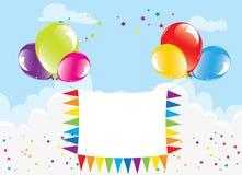 Feestelijke kleurrijke ballons en banner Stock Foto