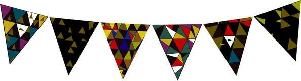 Feestelijke kleurrijke vlaggen voor partijen en vakantie Royalty-vrije Illustratie