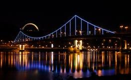 Feestelijke lichten op de brug Stock Foto