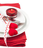 Feestelijke lijst die voor de Dag van Valentine plaatst Stock Afbeeldingen