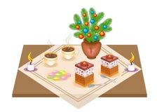 Feestelijke Lijst Heerlijke cake en thee, coffe Een Kerstmisboeket van een Kerstboom en een kaars geeft een romantische stemming  royalty-vrije illustratie