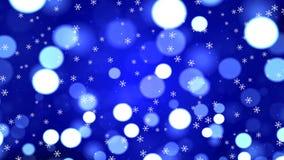 Feestelijke Magische Abstracte Blauwe Bokeh-Achtergrond met Sneeuwvlokken vector illustratie