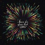 Feestelijke Nieuwjaar` s begroeting Een heldere uitbarsting van feestelijke lichten Een flits van vuurwerk diepe blauwe kleur royalty-vrije illustratie