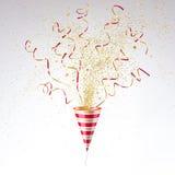 Feestelijke Partijpopcornpan met Gouden Confettien royalty-vrije illustratie