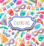 Feestelijke prentbriefkaar met de de kleurrijke pictogrammen en voorwerpen van Carnaval Royalty-vrije Stock Afbeeldingen