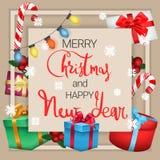 Feestelijke prentbriefkaar Vrolijke Kerstmis en Gelukkig Nieuwjaar vector illustratie