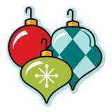 Feestelijke retro Kerstmisornament groepering, illustratie Stock Fotografie