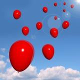 Feestelijke Rode Ballons in de Hemel voor Viering Royalty-vrije Stock Foto