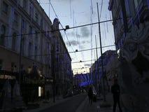 Feestelijke verlichting op de Straat van Bolshaya Dmitrovka in Moskou stock footage
