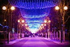 Feestelijke Verlichting op Straat in Gomel Nieuw jaar Stock Foto