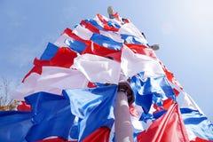 Feestelijke vlaggen van rode blauwe en witte kleur Stock Afbeelding