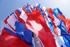 Feestelijke vlaggen van rode blauwe en witte kleur Royalty-vrije Stock Foto