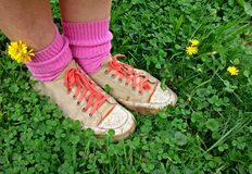 Feet. In boots and dandelion on grass field with pink socks Royalty Free Stock Photography