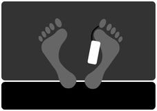 Feet. Silhouettes with label hanging down Stock Illustration